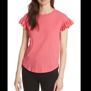 kate spade tee ruffle sleeve top  Medium pink